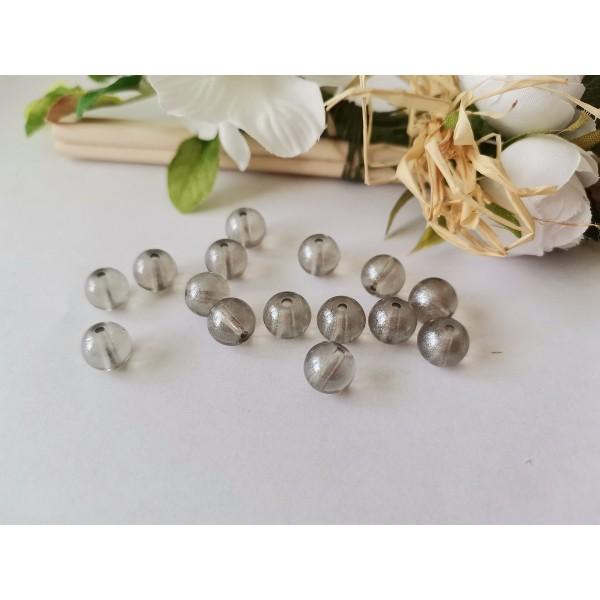Perles en verre 8 mm gris brillant x 20 - Photo n°1