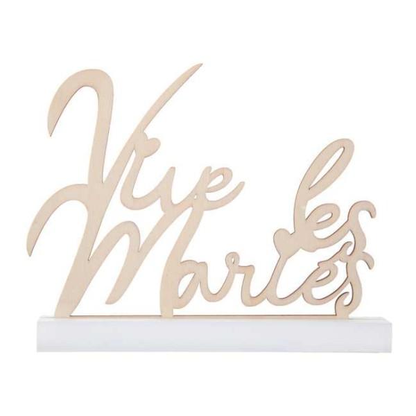 Lettres en bois naturel Vive les Mariés sur support blanc - Photo n°1
