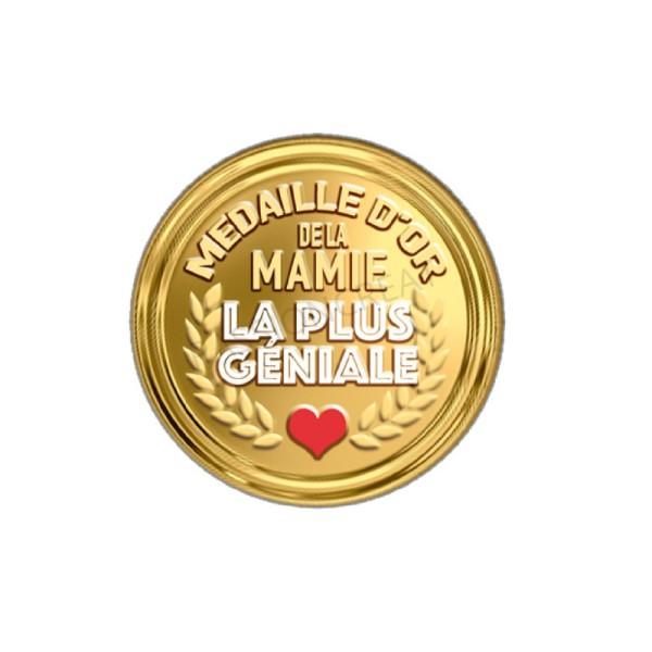 Médaille D'Or De La Mamie La Plus Géniale 2 Cabochons - Photo n°1