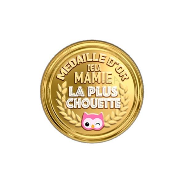 Médaille D'Or De La Mamie La Plus Chouette 2 Cabochons - Photo n°1