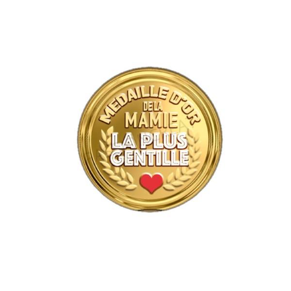 Médaille D'Or De La Mamie La Plus Gentille 2 Cabochons - Photo n°1
