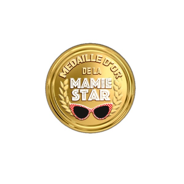 Médaille D'Or De La Mamie Star 2 Cabochons - Photo n°1