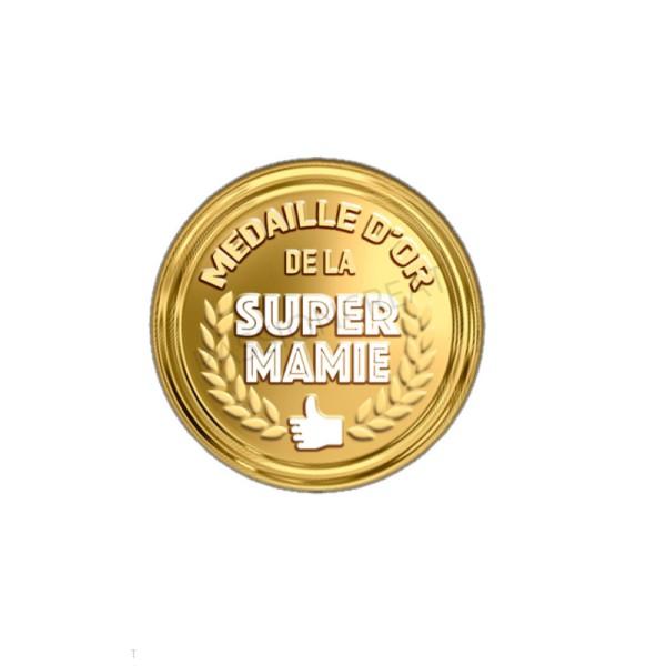 Médaille D'Or De La Super Mamie 2 Cabochons - Photo n°1