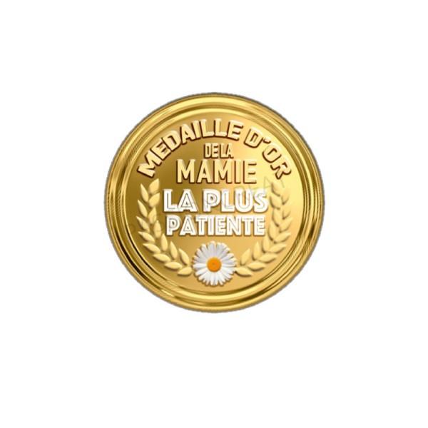Médaille D'Or de la Mamie La Plus Patiente 2 Cabochons - Photo n°1