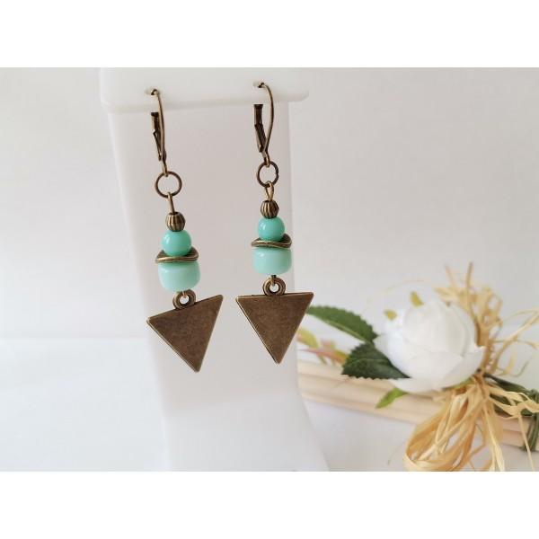 Kit boucles d'oreilles pendentif bronze et perles en verre bleu vert - Photo n°1