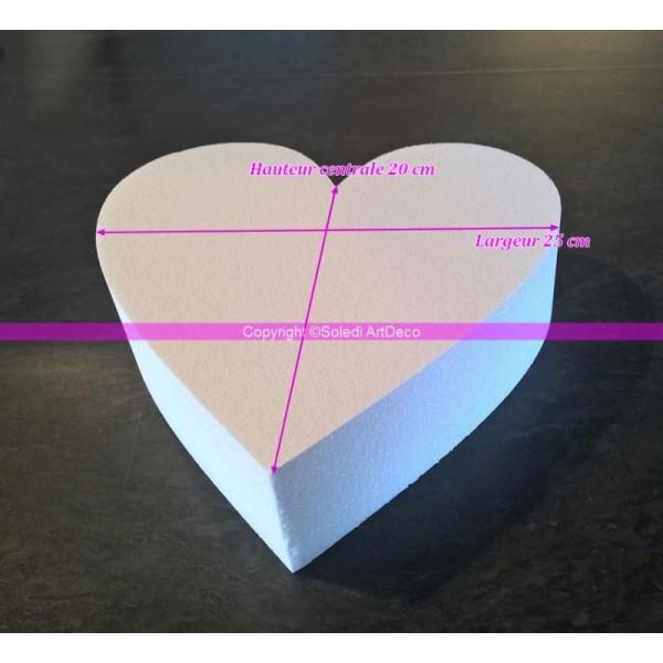 Socle plat Coeur 2D en polystyrène blanc, Epaisseur 7cm, Largeur 25cm, 28 kg/ m3 - Photo n°1