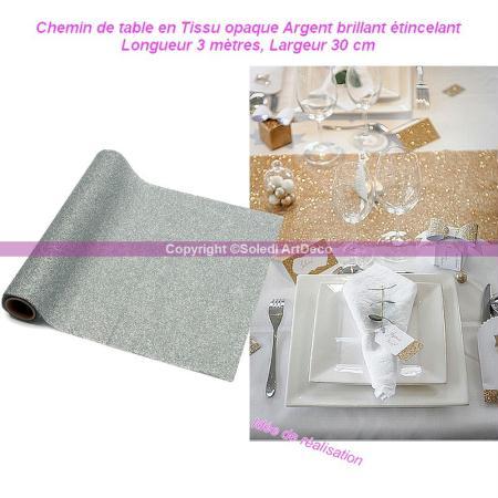 Chemin de table en Tissu opaque Argent brillant étincelant, Longueur 3 mètres, Largeur - Artif