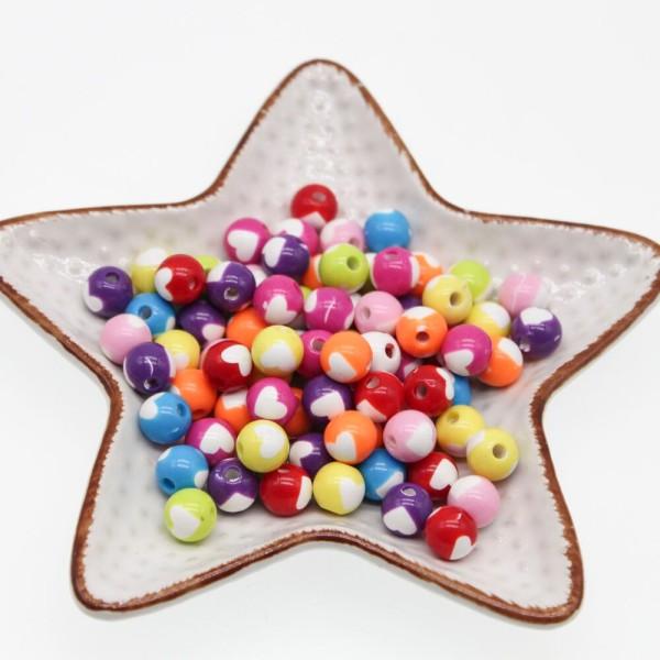 20 Perles Ronde avec Cœur Mixte 8mm - Photo n°2