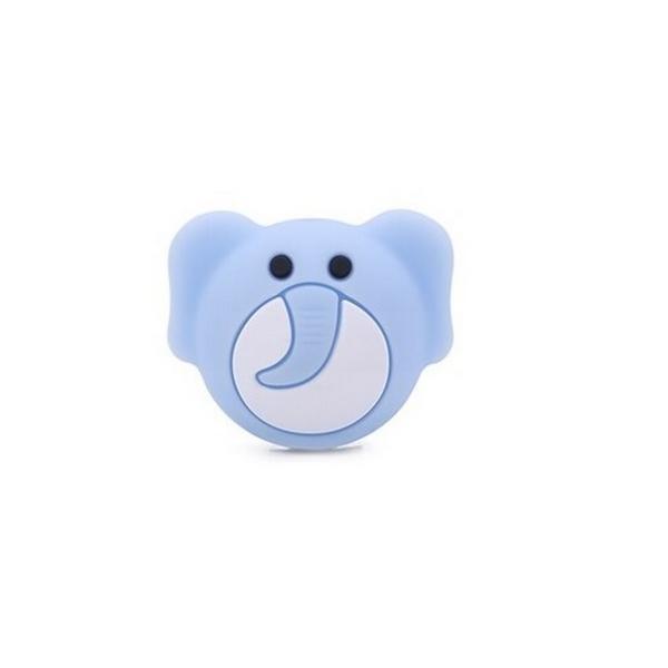 Perle Silicone Tête d'Elephant Bleu Clair 25mm x 20mm, Creation bijoux - Photo n°1