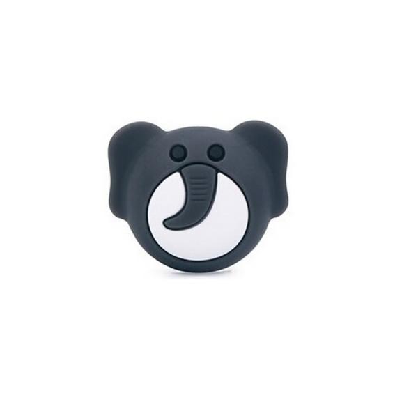 Perle Silicone Tête d'Elephant Gris Foncé 25mm x 20mm, Creation bijoux - Photo n°1
