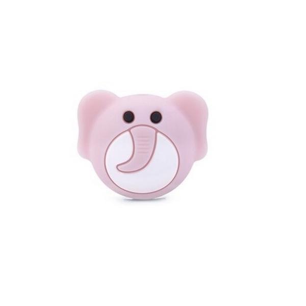 Perle Silicone Tête d'Elephant Rose clair  25mm x 20mm, Creation bijoux - Photo n°1