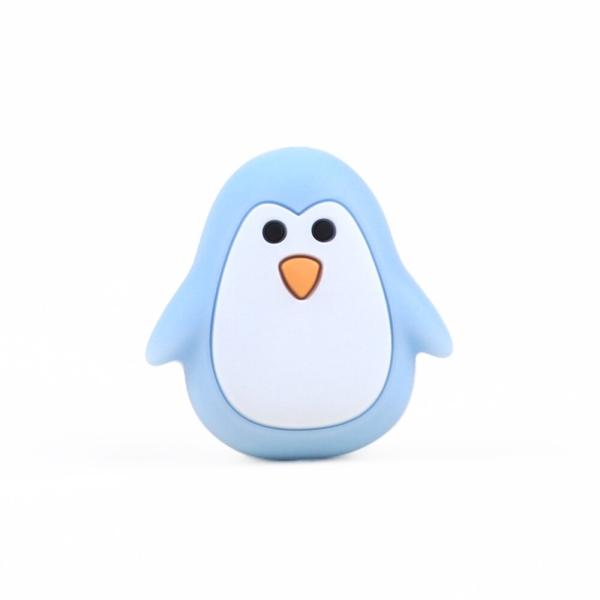 Perle Silicone Pingouin Bleu Clair 26mm x 25mm, Creation bijoux - Photo n°1