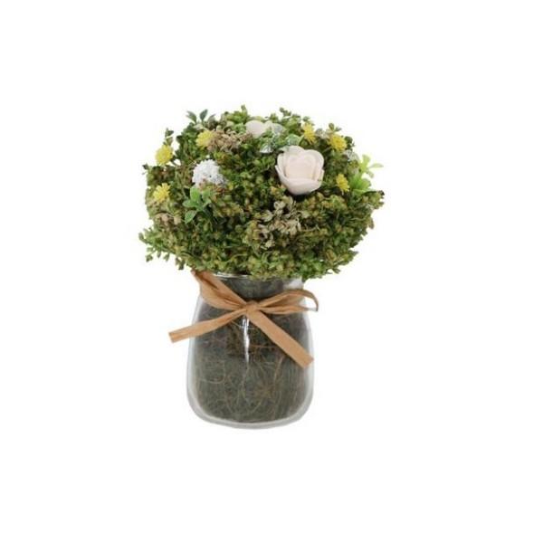 Vase avec mini bouquet de fleurs séchées et roses - Photo n°1