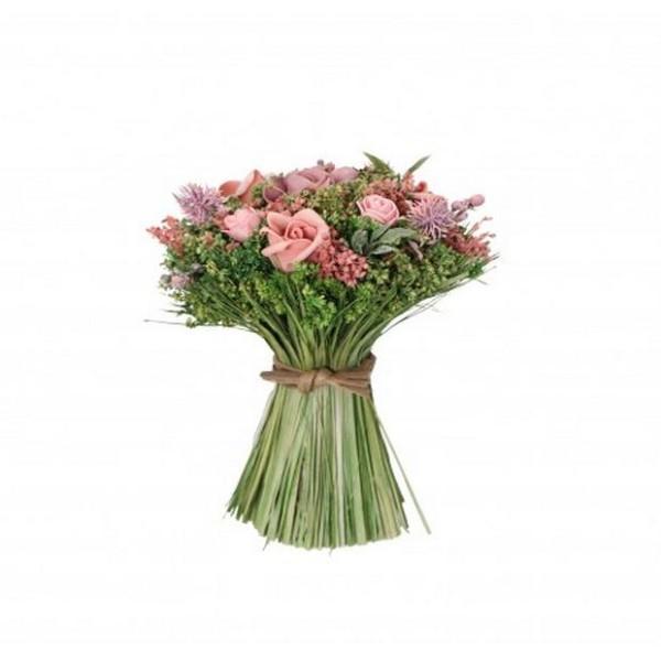 Bouquet champêtre roses et feuillage à poser 16 cm x 20 cm - Photo n°1