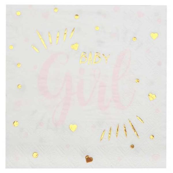 20 Serviettes en papier Baby Girl rose - Photo n°1