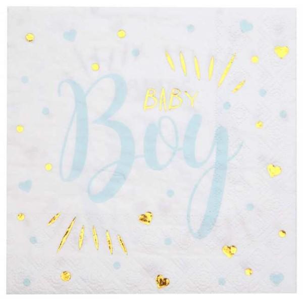 20 Serviettes en papier Baby Boy ciel - Photo n°1