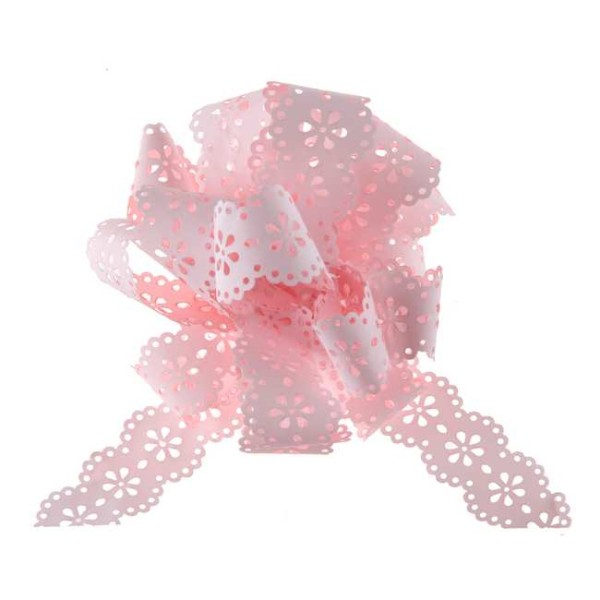 5 Noeuds automatiques dentelle Fleur rose - Photo n°1