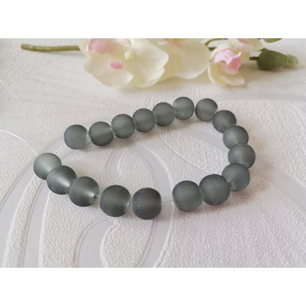 Perles en verre givré 10 mm grise x 10 - Photo n°1