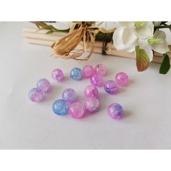 Perles en verre peint craquelé 8 mm bleu rose x 20 - Photo n°2