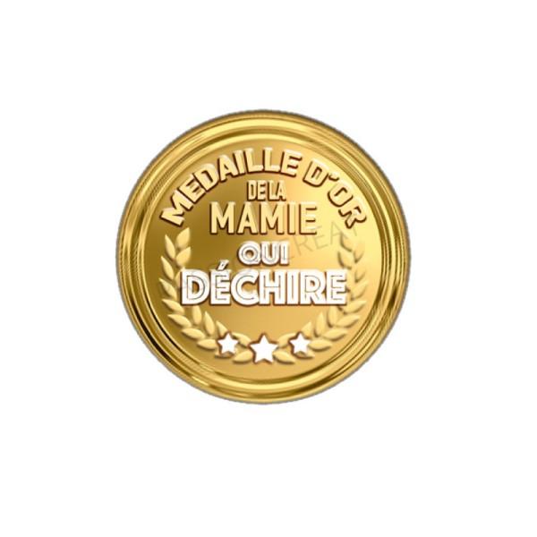 Médaille D'Or De La Mamie Qui Déchire 2 Cabochons 20 mm - Photo n°1