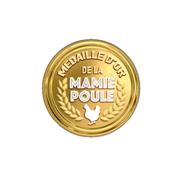 Médaille D'Or De La Mamie Poule 2 Cabochons 20 mm - Photo n°1