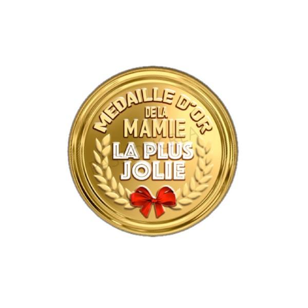 Médaille D'Or De La Mamie La Plus Jolie 2 Cabochons 20 mm - Photo n°1