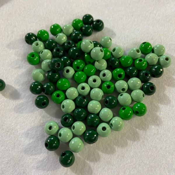 Perles en bois vert mix - Photo n°1