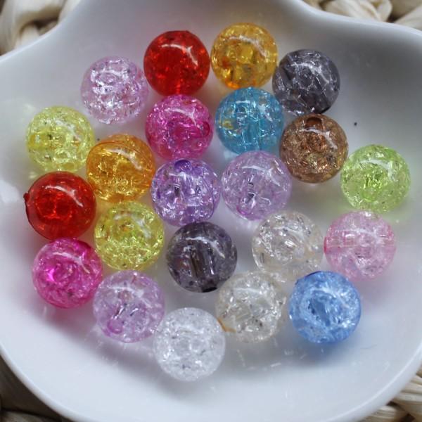 20 Perles en Acrylique Imitation Verre Craquelé 8mm Couleur Mixte - Photo n°2