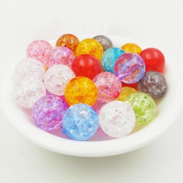 20 Perles en Acrylique Imitation Verre Craquelé 8mm Couleur Mixte - Photo n°1