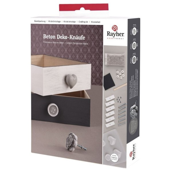 Kit pour 6 Pommeaux Déco en béton avec tous les accessoires pour boutons de tiroirs - Photo n°1