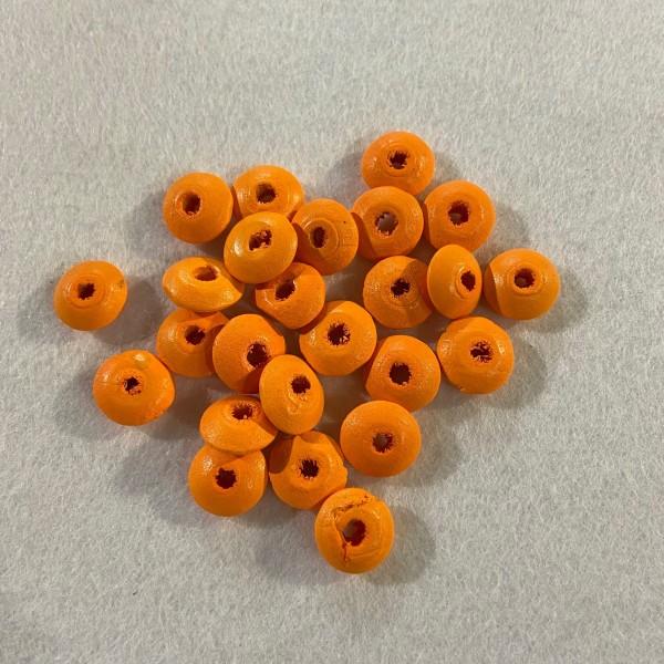 Perles en bois plate orange - Photo n°1