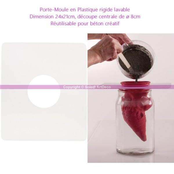 Porte-Moule en Plastique rigide lavable, 24x21cm, découpe ø 8cm, Réutilisable pour béton créatif - Photo n°2
