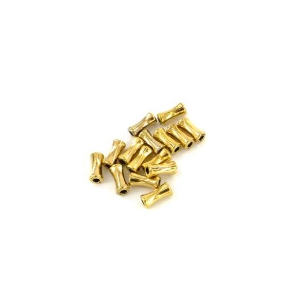 30 Perles Petit Tube En Métal Doré Légèrement Incurvé 4mm X 9mm - Photo n°2