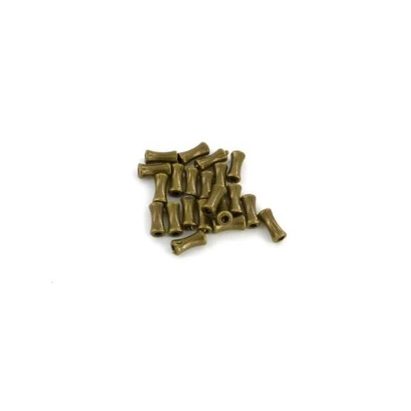 30 Perles Petit Tube En Métal Couleur Bronze Légèrement Incurvé 4mm X 9mm - Photo n°2