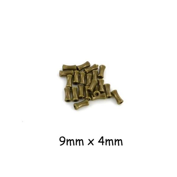 30 Perles Petit Tube En Métal Couleur Bronze Légèrement Incurvé 4mm X 9mm - Photo n°1