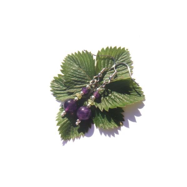 Boucles Oreilles Améthyste/Péridot 4.8 CM de hauteur - Photo n°1