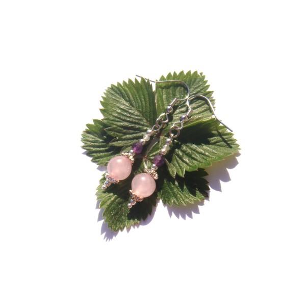 Boucles Oreilles Quartz rose/Améthyste/Pierre de Lune 5 CM de hauteur - Photo n°2