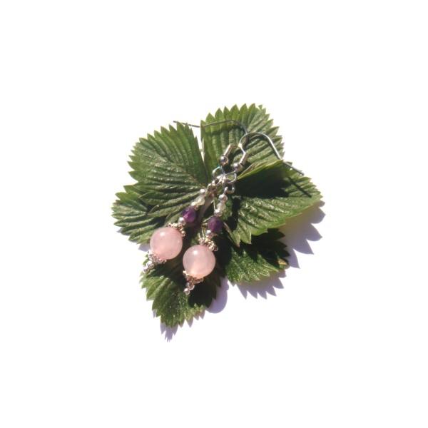 Boucles Oreilles Quartz rose/Améthyste/Pierre de Lune 5 CM de hauteur - Photo n°3