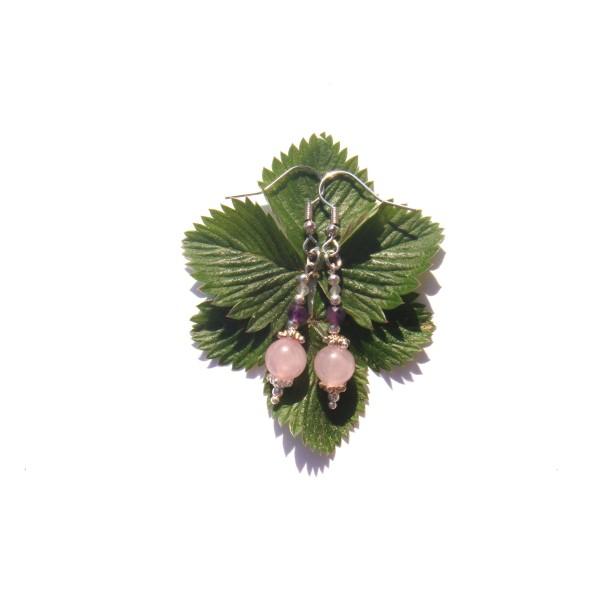 Boucles Oreilles Quartz rose/Améthyste/Pierre de Lune 5 CM de hauteur - Photo n°4