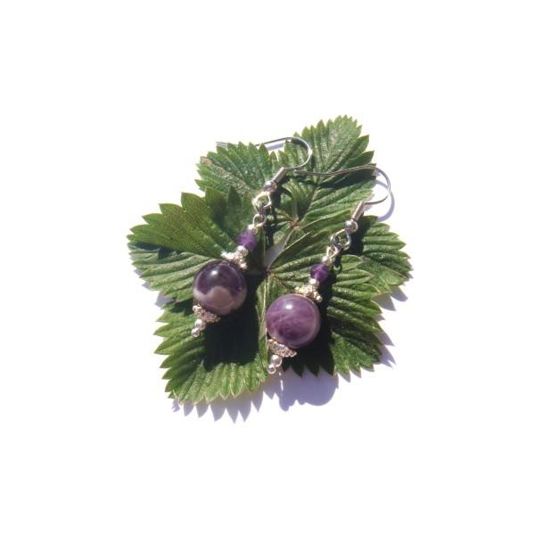 Boucles Oreilles Améthyste violette et blanche 5 CM de hauteur - Photo n°2
