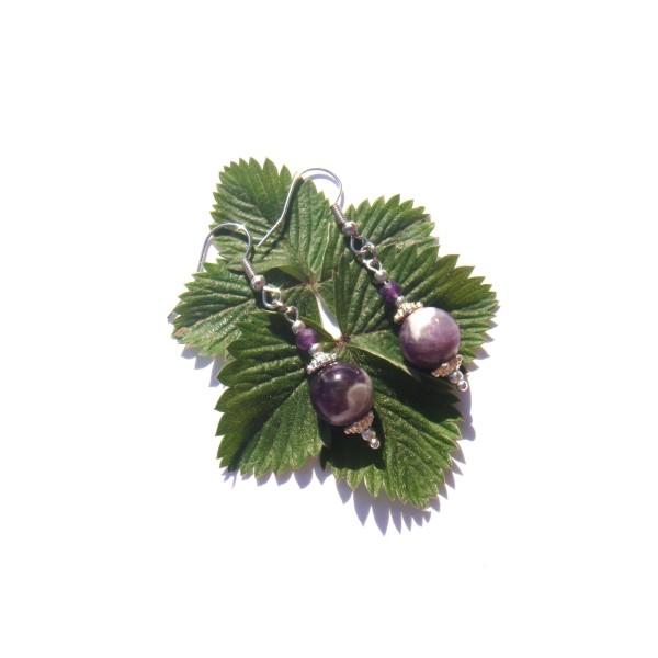 Boucles Oreilles Améthyste violette et blanche 5 CM de hauteur - Photo n°3