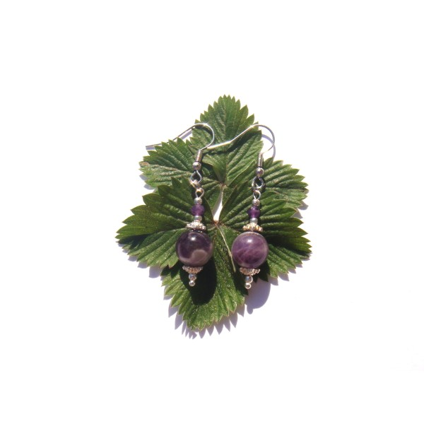 Boucles Oreilles Améthyste violette et blanche 5 CM de hauteur - Photo n°4