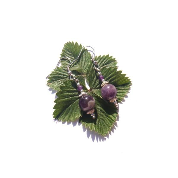 Boucles Oreilles Améthyste violette et blanche 5 CM de hauteur - Photo n°1