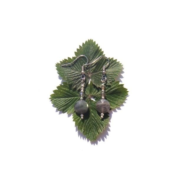 Boucles Oreilles Labradorite grise facettée 5 CM de hauteur - Photo n°2
