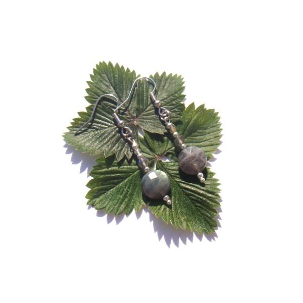 Boucles Oreilles Labradorite grise facettée 5 CM de hauteur - Photo n°1