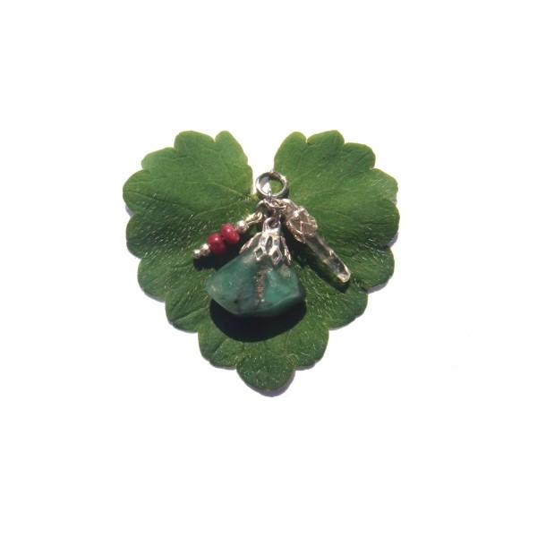 Pendentif Emeraude, Rubis et Cristal Lémurien 2.8 CM de hauteur - Photo n°1
