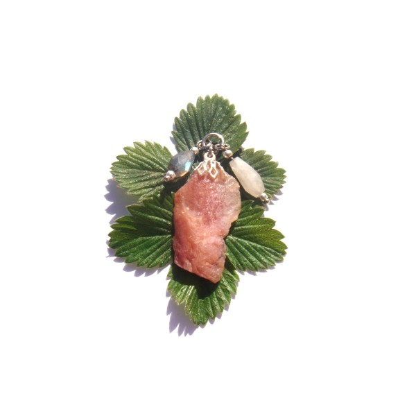 Pendentif Opale Rose, Pierre de Lune, Labradorite 4 CM de hauteur - Photo n°2