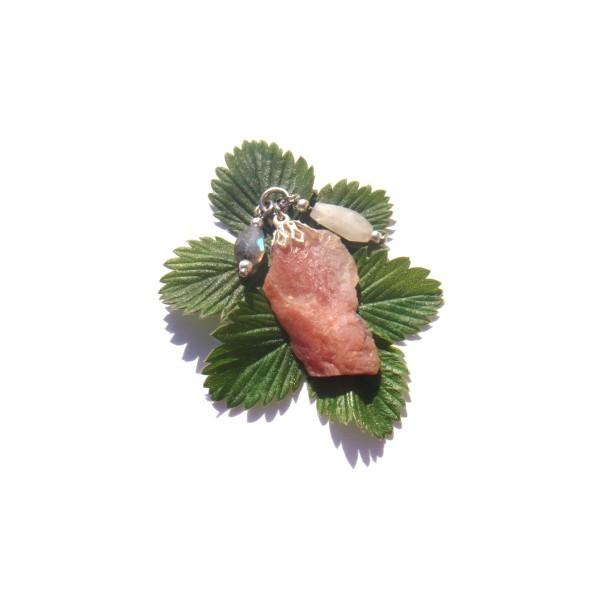 Pendentif Opale Rose, Pierre de Lune, Labradorite 4 CM de hauteur - Photo n°3