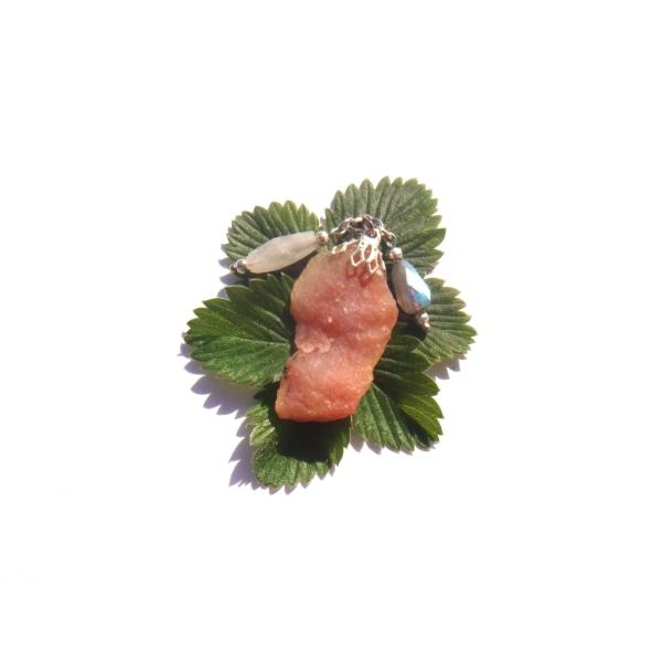 Pendentif Opale Rose, Pierre de Lune, Labradorite 4 CM de hauteur - Photo n°4
