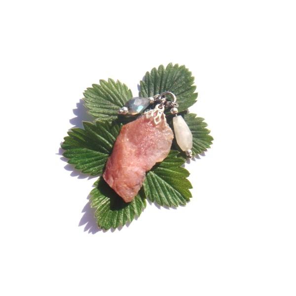 Pendentif Opale Rose, Pierre de Lune, Labradorite 4 CM de hauteur - Photo n°1